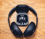 Beats Studio 3 Wireless and Powerbeats Pro Beats on table desk royalty free stock image