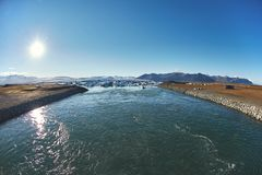 Beautiful cold landscape picture of icelandic glacier lagoon bay, Royalty Free Stock Photography