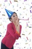 Beatufitul Frau, die neues Jahr feiert lizenzfreies stockbild