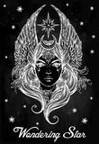 Beatuful woman as a Star diety or Tarot card. Stock Image