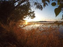 Beautiful Sunrise Over the Lake stock photos