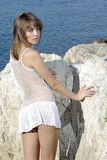 Beaty sur une roche blanche près de la mer Photos libres de droits
