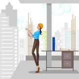 Beau bâtiment de planification d'architecte de femme Images stock