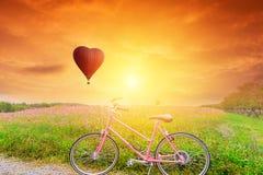 Beau ballon rouge dans la forme avec des bicyclettes images libres de droits