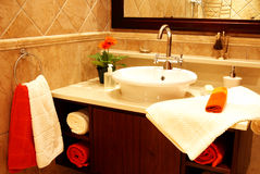 Beau bassin dans une salle de bains Photo libre de droits
