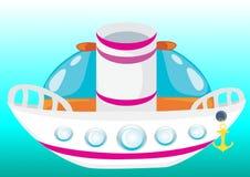 Beau bateau de dessin animé Images libres de droits