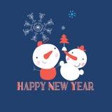 Beau bonhomme de neige avec des flocons de neige Photo libre de droits