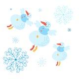 Beau bonhomme de neige avec des flocons de neige Photographie stock