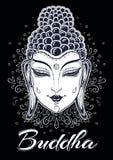 Beau Bouddha font face dans des couleurs noires et blanches au-dessus d'ornement tiré par la main décoratif autour Illustration r Image libre de droits