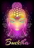 Beau Bouddha font face dans les couleurs au néon au-dessus de l'ornement tiré par la main décoratif autour Illustration religieus Photo libre de droits