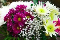 Beau bouquet avec des asters, des chrysanthèmes, le gypsophila et des gerberas photos stock