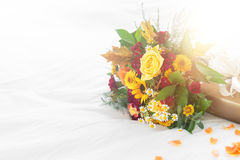 Beau bouquet coloré de ressort ou d'été des fleurs sur des WI de lit Photographie stock libre de droits