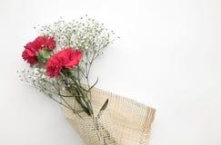Beau bouquet de fleur sur le fond blanc Amour, roman Photo libre de droits