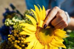 Beau bouquet des fleurs sauvages avec le tournesol Photographie stock