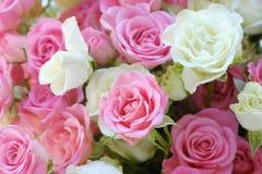 Beau bouquet des roses blanches et roses Photo stock