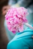 Beau bouquet rose tenu par la demoiselle d'honneur Photos libres de droits
