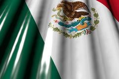 Beau brillant - en ressemblant au drapeau en plastique du Mexique avec de grands plis situez-vous dans le coin - toute illustrati illustration libre de droits