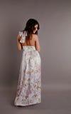 Beau brunette dans une robe Photographie stock libre de droits