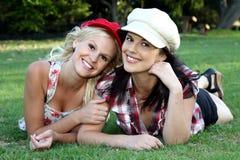 Beau Brunette et amis blonds Images libres de droits
