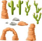 Beau cactus de bande dessinée sur le fond de désert Photos libres de droits