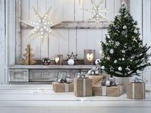 Beau cadeau avec des ornements de Noël rendu 3d illustration de vecteur