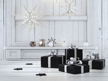 Beau cadeau avec des ornements de Noël rendu 3d Photos stock