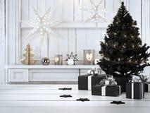 Beau cadeau avec des ornements de Noël rendu 3d Image stock