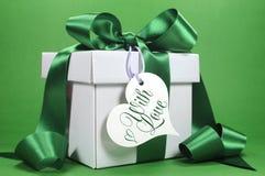 Beau cadeau vert et blanc avec le ruban de luxe Image stock
