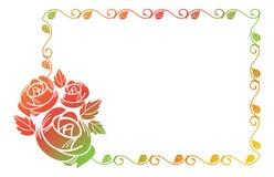 Beau cadre avec des silhouettes de roses Photographie stock libre de droits