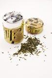 Beau cadre avec du thé vert, ouvert Photos stock