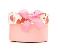 Beau cadre de cadeau rose fabriqué à la main Photographie stock