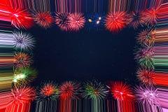Beau cadre de feux d'artifice de vacances de célébration Photographie stock libre de droits