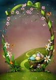 Beau cadre de ressort avec des fleurs et des oeufs de pâques.