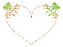 Beau cadre floral en forme de coeur avec la suffisance de gradient Photo stock