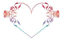 Beau cadre floral en forme de coeur avec la suffisance de gradient Photographie stock