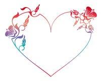 Beau cadre floral en forme de coeur avec la suffisance de gradient Photographie stock libre de droits