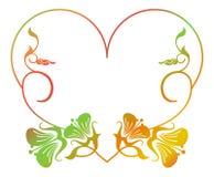 Beau cadre floral en forme de coeur avec la suffisance de gradient Photos libres de droits
