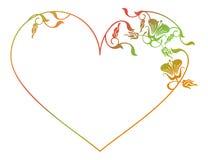 Beau cadre floral en forme de coeur avec la suffisance de gradient Images libres de droits
