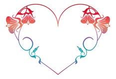 Beau cadre floral en forme de coeur avec la suffisance de gradient Photos stock