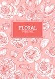 Beau calibre d'insecte décoré du modèle avec les fleurs roses de l'anglais tirées par la main avec des courbes de niveau sur le r Photo stock