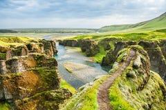 Beau canyon de Fjadrargljufur L'Islande du sud Photo libre de droits