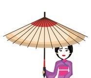 Beau caractère du Japon de geisha avec le parapluie Photo stock