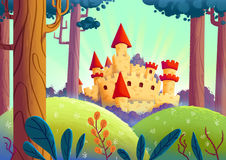Beau château dans la forêt Photo libre de droits