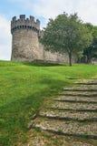 Beau château médiéval de Montebello à Bellinzona Photos stock