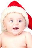 Beau chéri avec les œil bleu et le chapeau de Noël Photos libres de droits