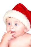 Beau chéri avec les œil bleu et le chapeau de Noël Photo stock
