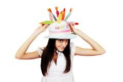 beau chapeau drôle de fille image stock