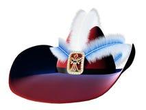 Beau chapeau médiéval avec des bijoux et des plumes d'or Image libre de droits