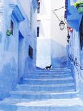 Beau Chefchaouen bleu photographie stock libre de droits