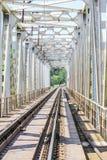 Beau chemin de fer élégant et fiable avec un train sur la nature image libre de droits